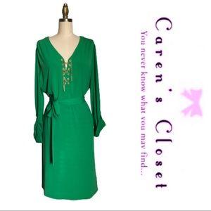 Micheal Kors Green Stretch Jersey Dress